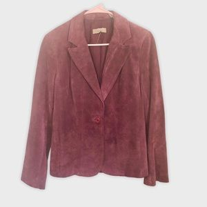 I.E. 100%Leather Maroon Suede Single Button Blazer